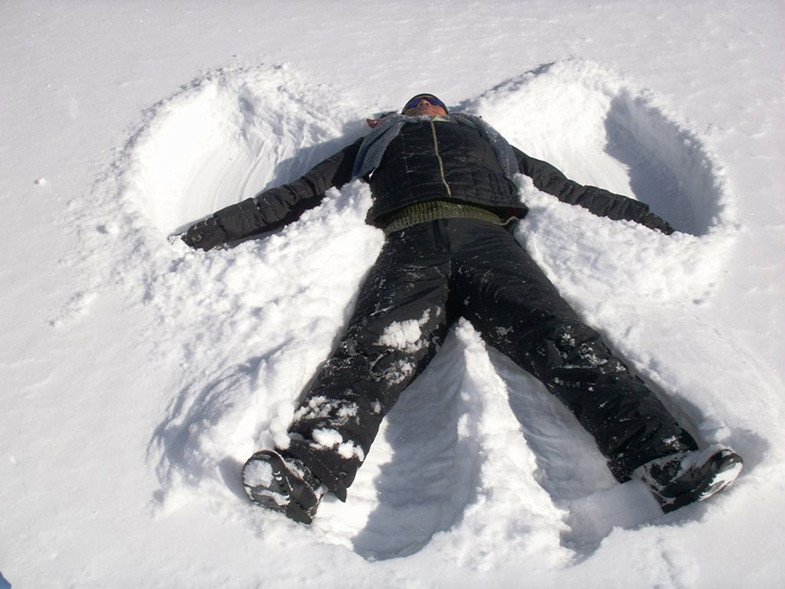 Note the wings of the snow angel - their edges mark the outside edges of your left and right peripheral vision.
