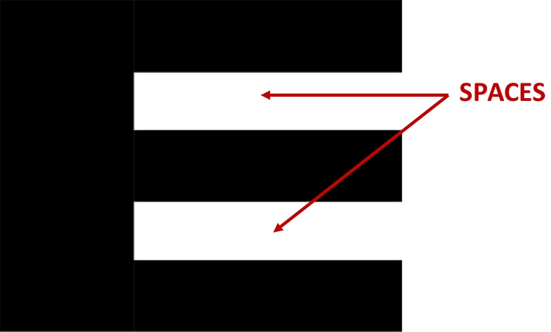 We know it is the letter E because of these two spaces. With this letter E the two spaces are both white rectangles.