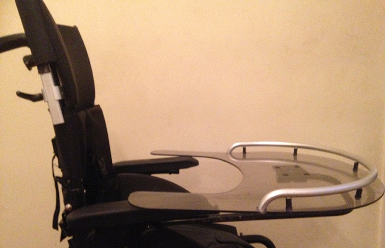 Connor's wheelchair and tray