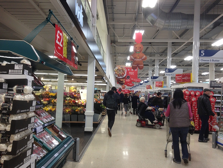 Shopping (in a busy supermarket)