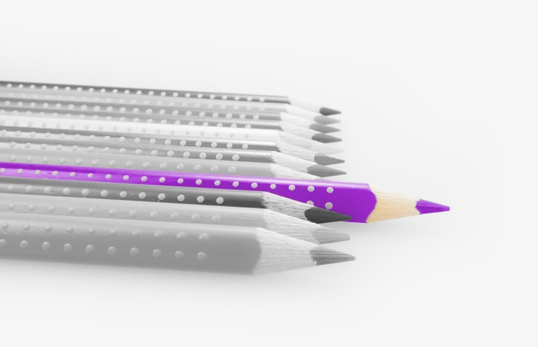 Daniel likes small simple straight purple things, like a purple pencil.