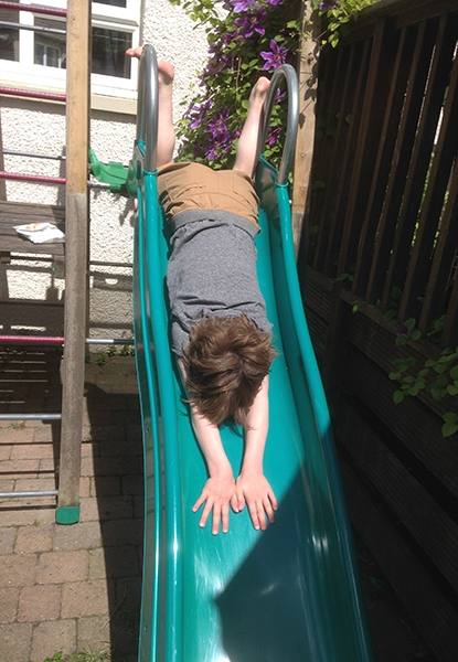 Lack of lower visual field can lead to...the child choosing to use their upper visual field to go down slides on their tummy