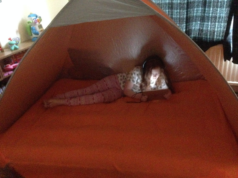 A small pop-up tent can provide a visually optimal environment and help a child who struggles with distractions.
