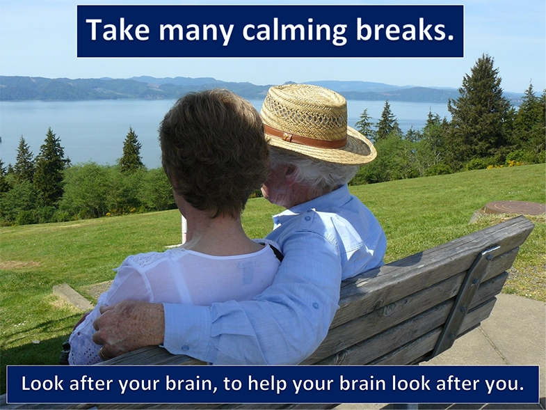 Your brain is working very hard and needs breaks.  Somewhere quiet and calm where you feel safe is ideal,
