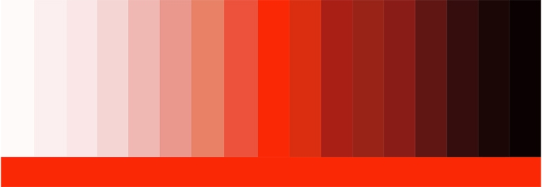 Shades of red.