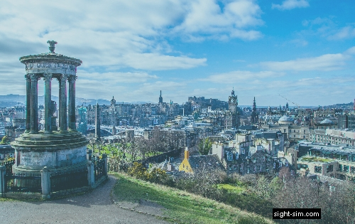 View of City of Edinburgh with reduced colour contrast sensitivity.