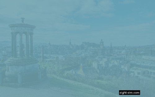 View of City of Edinburgh with severely reduced colour contrast sensitivity.