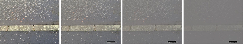 Step in pavement kerb as seen by a person with typical vision (left) and reduced levels of contrast sensitivity.