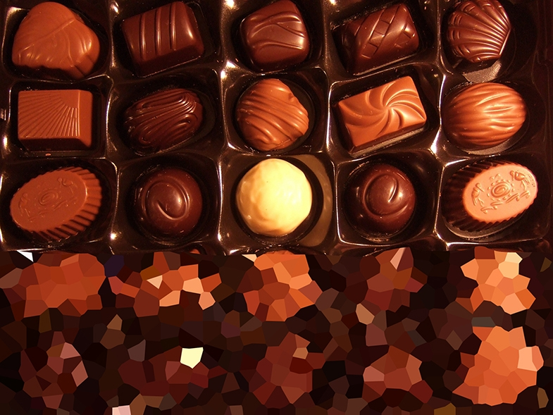 A box of chocolates with a lower visual field impairment