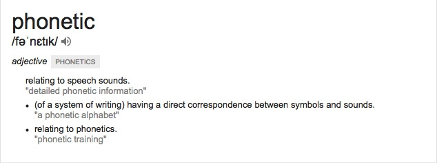 Phonetic, dictionary definition.
