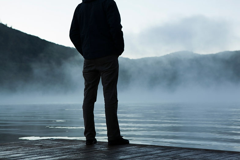 Imagine standing at the edge of a lake, unsure how deep it was.  Would you confidently walk in, unaware if it was up to your ankles or above waist deep, which might mean you toppled over?  Maybe this is how the boy felt going downstairs due to his optic ataxia.