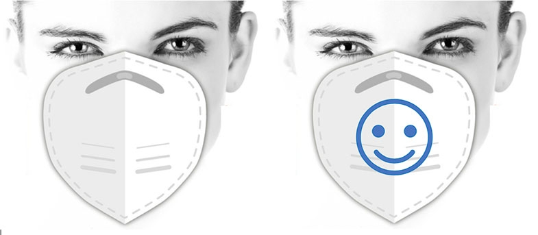 A sticker, of smile drawn on PPE can change it from looking clinical and scary, to looking friendly.