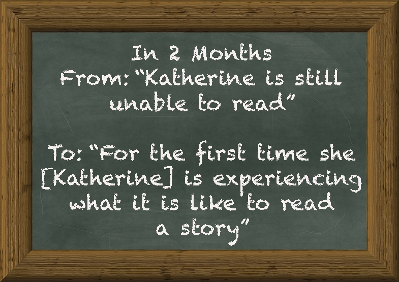 11 year old Katherine helped us by piloting  Look during development.  Her progress was remarkable.  Read the real account of how she is learning to read.
