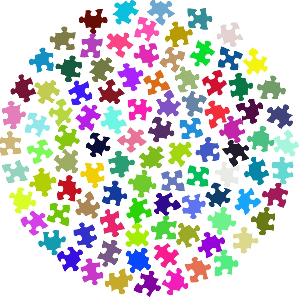 a circle made up of different coloured jigsaw pieces