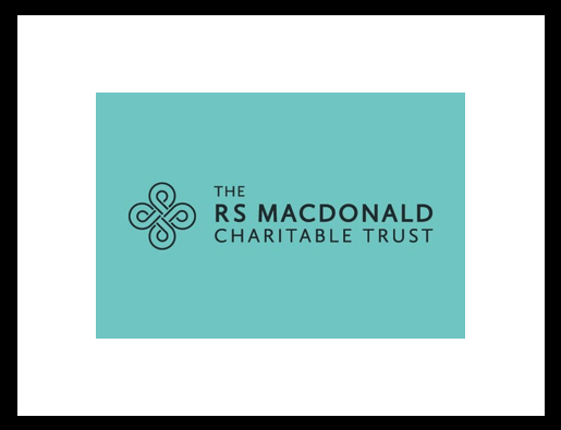 Logo of the RS MacDonald trust, black text on green background.